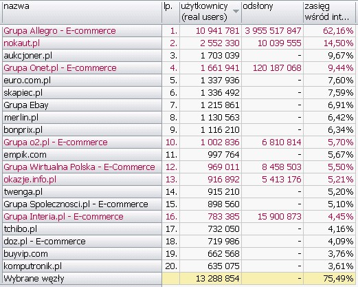 E-COMMERCE <br>Wyniki Megapanel PBI/Gemius dane za czerwiec 2010