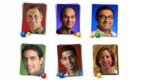 Od lewej strony, zaczynając od górnego rzędu: Allan Eustace, Andy Rubin, Vic Gundotra, Salar Kamangar, Sundar Pichai, Susan Wojcicki
