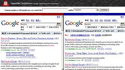 Porównanie wyników wyszukiwania dla słowa freedom (wolność). Po lewej stronie Google.cn, po prawej Google.com