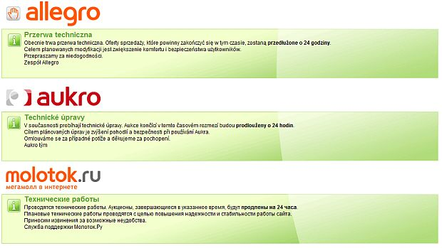 Zamiast serwisu aukcyjnego pojawił się taki komunikat w kilku językach.