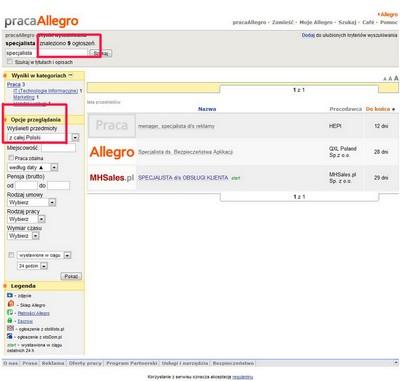 Mechanizm wyszukiwania jest tym samym rozwiązaniem, które wykorzystano w serwisie aukcyjnym Allegro.pl