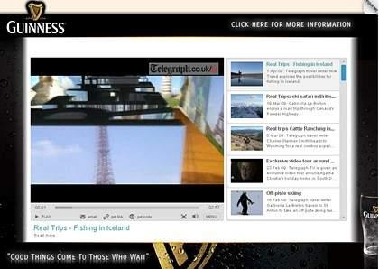 Reklama Guiness w formacie InSkin w Telegraph