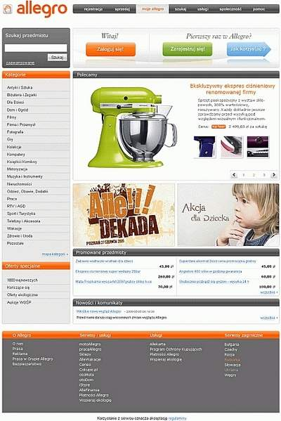 Tak wyglądać będzie strona główna Allegro.pl
