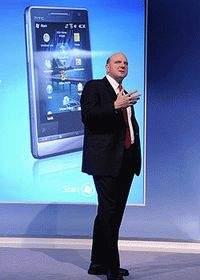 Steve Ballmer prezentujący Windows Mobile 6.5 na konferencji MWC 2009