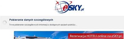 Sprawdzenie bazy hoteli oferowanych przez esky.pl wiążę się z kilkusekundowym oczekiwaniem, aż program pobierze informacje o dostępnych opcjach podróży.