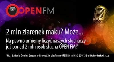 Swoim zasięgiem Open.fm postanowiło pochwalić się też na banerze.