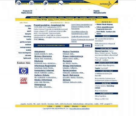 Strona główna INTERIA.PL z 10 maja 2000 roku/INTERIA.PL