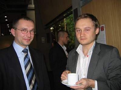 Tomasz Jażdżyński oraz Arkadiusz Osiak, prezesi konkurencyjnych wortali finansowych razem