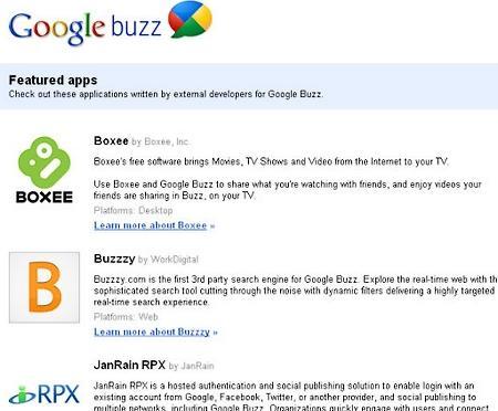 Aplikacje na Google Buzz.