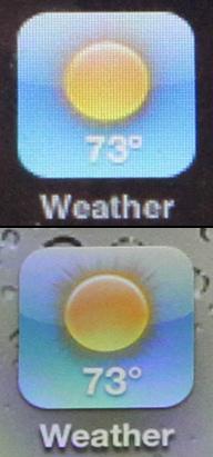 Porównanie wyświetlaczy iPhone'a 3G S i 4