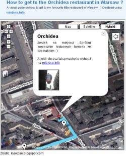 Przykładowa mapka dojścia do restauracji Orchidea przygotowana przez twórcę serwisu