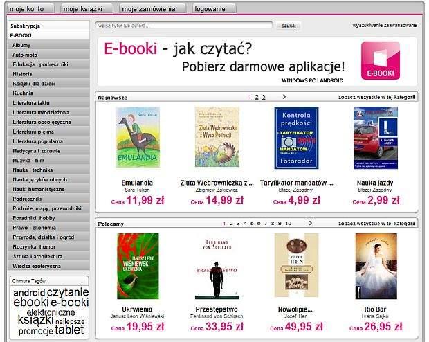 Sklep z e-bookami sieci T-Mobile
