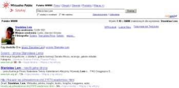 """Wyniki wyszukiwania dla hasła """"Stanisław Lem"""". Pod okienkiem wyszukiwania widać biogram autora. Nie obyło się bez błędów: mamy... filmografię autora."""