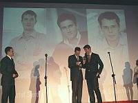 Gala Webstarów - nagrodę odbierają członkowie zarządu O2.pl - Jacek Świderski i Krzysztof Sierota