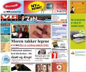 Strona internetowa Vg.no z wyglądu przypomina drukowany tabloid.
