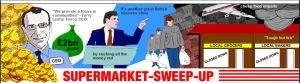 Strona Supermarket-sweep-up na światło dzienne wystawia działania supermarketów
