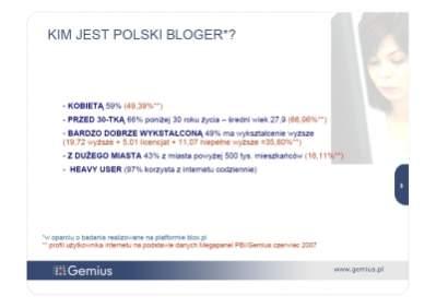 Kim jest polski bloger, źródło: Prezentacja Gemiusa S.A.