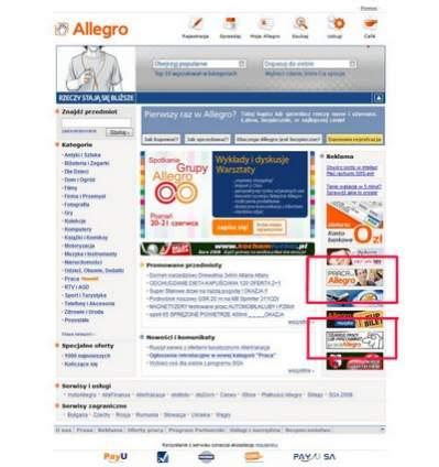 Strona główna serwisu aukcyjnego Allegro.pl.